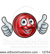 Vector Illustration of a Cartoon Cricket Ball Mascot Giving Two Thumbs up by AtStockIllustration