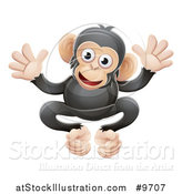 Vector Illustration of a Cartoon Cute African Safari Chimpanzee by AtStockIllustration