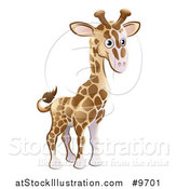 Vector Illustration of a Cartoon Cute African Safari Giraffe by AtStockIllustration