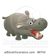 Vector Illustration of a Cartoon Cute African Safari Hippopotamus by AtStockIllustration