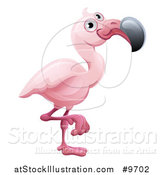 Vector Illustration of a Cartoon Cute African Safari Pink Flamingo by AtStockIllustration