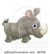 Vector Illustration of a Cartoon Cute African Safari Rhinoceros by AtStockIllustration