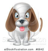 Vector Illustration of a Cartoon Cute White and Brown Puppy Dog Sitting and Panting by AtStockIllustration