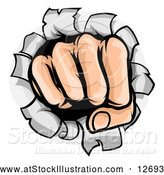 Vector Illustration of a Cartoon Fisted Hand Punching a Hole Through a Wall by AtStockIllustration