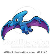 Vector Illustration of a Cartoon Flying Pterodactyl Dino by AtStockIllustration
