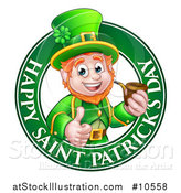 Vector Illustration of a Cartoon Friendly Leprechaun Giving a Thumb up and Smoking a Pipe in a Happy Saint Patricks Day Greeting Circle by AtStockIllustration
