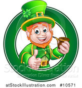 Vector Illustration of a Cartoon Friendly St Patricks Day Leprechaun Giving a Thumb up and Smoking a Pipe in a Green Circle by AtStockIllustration