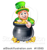 Vector Illustration of a Cartoon Friendly St Patricks Day Leprechaun Giving a Thumb up over a Pot of Gold by AtStockIllustration