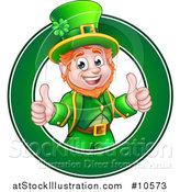 Vector Illustration of a Cartoon Friendly St Patricks Day Leprechaun Giving Two Thumbs up in a Green Circle by AtStockIllustration