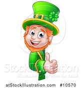 Vector Illustration of a Cartoon Friendly St Patricks Day Leprechaun Holding a Thumb up Around a Sign by AtStockIllustration