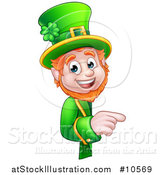 Vector Illustration of a Cartoon Friendly St Patricks Day Leprechaun Pointing Around a Sign by AtStockIllustration