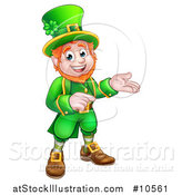 Vector Illustration of a Cartoon Friendly St Patricks Day Leprechaun Presenting and Pointing by AtStockIllustration