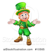 Vector Illustration of a Cartoon Friendly St Patricks Day Leprechaun Shrugging by AtStockIllustration