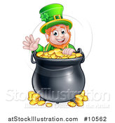 Vector Illustration of a Cartoon Friendly St Patricks Day Leprechaun Waving over a Pot of Gold by AtStockIllustration