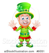 Vector Illustration of a Cartoon Friendly St Patricks Day Leprechaun Waving with Both Hands by AtStockIllustration