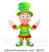 Vector Illustration of a Cartoon Friendly St Patricks Day Leprechaun Welcoming by AtStockIllustration
