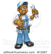 Vector Illustration of a Cartoon Full Length Black Male Plumber Holding a Wrench and Giving a Thumb up by AtStockIllustration