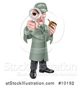 Vector Illustration of a Cartoon Full Length Cartoon Caucasian Male Detective, like Sherlock Homes, Looking Through a Magnifying Glass and Holding a Pipe by AtStockIllustration