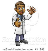 Vector Illustration of a Cartoon Full Length Friendly Black Male Doctor Waving and Giving a Thumb up by AtStockIllustration