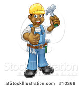 Vector Illustration of a Cartoon Full Length Happy Black Male Carpenter Holding a Hammer and Giving a Thumb up by AtStockIllustration