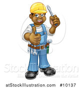 Vector Illustration of a Cartoon Full Length Happy Black Male Electrician Holding a Screwdriver and Giving a Thumb up by AtStockIllustration