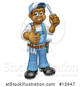 Vector Illustration of a Cartoon Full Length Happy Black Male Handyman Holding a Screwdriver and Giving a Thumb up by AtStockIllustration