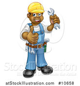 Vector Illustration of a Cartoon Full Length Happy Black Male Mechanic Holding up a Wrench and Giving a Thumb up by AtStockIllustration