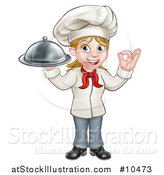 Vector Illustration of a Cartoon Full Length Happy White Female Chef Holding a Cloche Platter and Gesturing Ok by AtStockIllustration