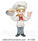 Vector Illustration of a Cartoon Full Length Happy White Female Chef Holding a Cupcake on a Tray and Gesturing Perfect by AtStockIllustration