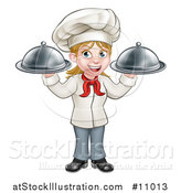 Vector Illustration of a Cartoon Full Length Happy White Female Chef Holding Two Cloche Platters by AtStockIllustration