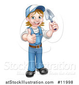 Vector Illustration of a Cartoon Full Length Happy White Female Gardener in Blue, Holding a Garden Trowel and Giving a Thumb up by AtStockIllustration