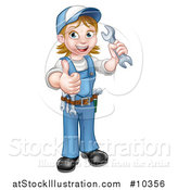 Vector Illustration of a Cartoon Full Length Happy White Female Mechanic Wearing a Hard Hat, Holding a Spanner Wrench and Giving a Thumb up by AtStockIllustration