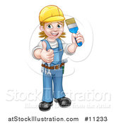 Vector Illustration of a Cartoon Full Length Happy White Female Painter Holding up a Brush and Thumb by AtStockIllustration