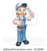 Vector Illustration of a Cartoon Full Length Happy White Female Plumber Holding an Adjustable Wrench and Giving a Thumb up by AtStockIllustration