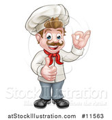 Vector Illustration of a Cartoon Full Length Happy White Male Chef Gesturing Ok and Giving a Thumb up by AtStockIllustration