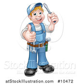 Vector Illustration of a Cartoon Full Length Happy White Male Electrician Holding up a Screwdriver and Thumb by AtStockIllustration