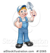 Vector Illustration of a Cartoon Full Length Happy White Male Gardener in Blue, Holding a Garden Trowel and Giving a Thumb up by AtStockIllustration