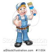 Vector Illustration of a Cartoon Full Length Happy White Male Painter Holding up a Brush and Giving a Thumb up by AtStockIllustration