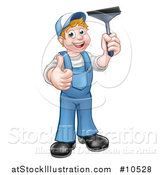 Vector Illustration of a Cartoon Full Length Happy White Male Window Cleaner Giving a Thumb up and Holding a Squeegee by AtStockIllustration