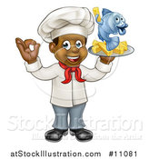 Vector Illustration of a Cartoon Full Length Happy Young Black Male Chef Holding a Fish Character and Chips on a Tray by AtStockIllustration