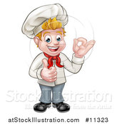 Vector Illustration of a Cartoon Full Length Happy Young White Male Chef Gesturing Ok and Giving a Thumb up by AtStockIllustration