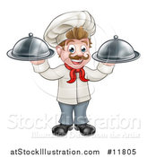 Vector Illustration of a Cartoon Full Length Happy Young White Male Chef Holding Cloche Platters by AtStockIllustration