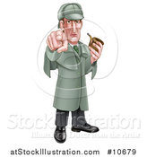 Vector Illustration of a Cartoon Full Length Sherlock Holmes Victorian Detective Holding a Pipe and Pointing Outwards by AtStockIllustration