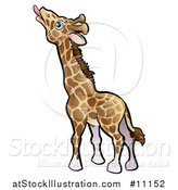 Vector Illustration of a Cartoon Giraffe Reaching with His Tongue by AtStockIllustration