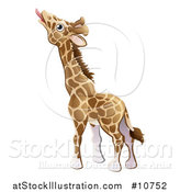 Vector Illustration of a Cartoon Giraffe Stretching His Tongue out to Eat by AtStockIllustration