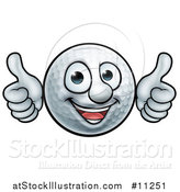 Vector Illustration of a Cartoon Golf Ball Mascot Giving Two Thumbs up by AtStockIllustration