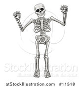 Vector Illustration of a Cartoon Grayscale Human Skeleton Holding up Both Hands by AtStockIllustration