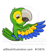 Vector Illustration of a Cartoon Green Macaw Parrot Pointing Around a Sign by AtStockIllustration