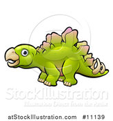 Vector Illustration of a Cartoon Green Stegosaur Dino by AtStockIllustration