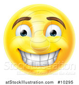 Vector Illustration of a Cartoon Grinning Yellow Smiley Face Emoji Emoticon by AtStockIllustration